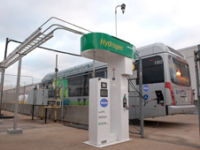 A station featuring an electrolyzer to create the hydrogen fuel for the bus