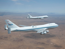 The two Shuttle Carrier Aircraft, NASA 905 (in front) and 911 (rear) flew together only once during their lengthy service. Both were aloft on Aug. 2, 2011, one on a maintenance check flight and the other on a flight crew proficiency flight.