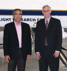 NASA Dryden center director David McBride and Frank Pace, president of General Atomics Aeronautical Systems' Aircraft Systems Group, were captured by the photographer in front of NASA's MQ-9 - Ikhana - during McBride's recent visit to the firm's Poway, Calif., facility.