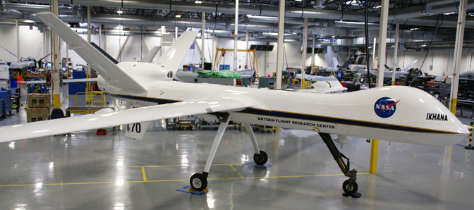 NASA's Modified MQ-9 Predator B - Ikhana - is shown in General Atomics Aeronautical Systems plant in Poway, Calif., while undergoing major avionics and electrical systems upgrades.