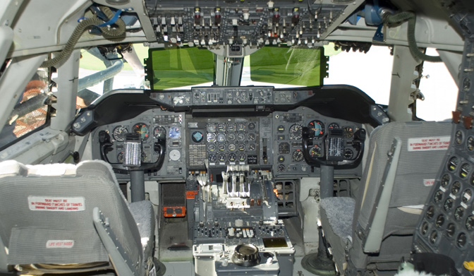 This 2007 photo shows the cockpit of NASA's Stratospheric Observatory for Infrared Astronomy (SOFIA) Boeing 747SP in its original configuration when built in 1977.