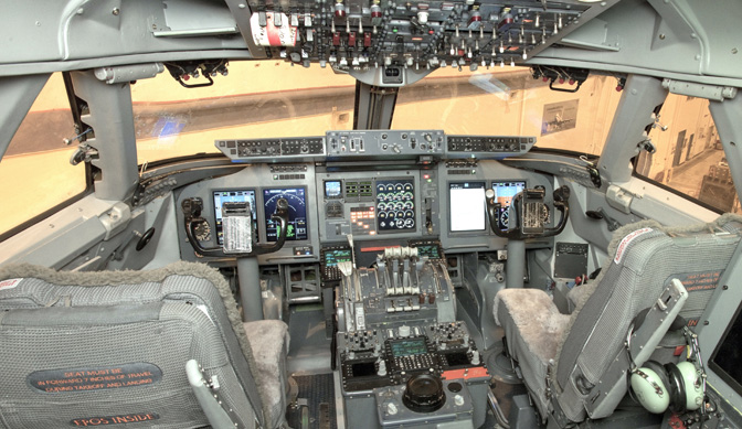 The cockpit of NASA's Stratospheric Observatory for Infrared Astronomy (SOFIA) received an avionics modernization upgrade in 2012 that replaced the outdated avionics suite with new avionics systems. Most of the analog gauges and associated hardware were replaced by digital, computer-based systems wi