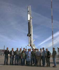 The EUNIS team stands in front of the sounding rocket before its second launch on Nov. 6, 2007.