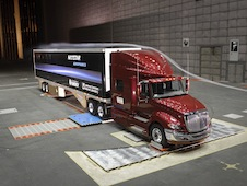 A large truck being tested in the 80- by 120-ft tunnel.