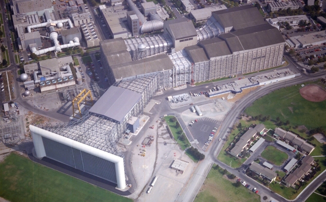 An aerial shot of the NFAC.