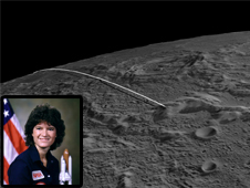 Still image from GRAIL animation with an inset photo of Sally Ride