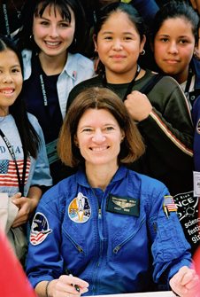 Sally Ride with several students