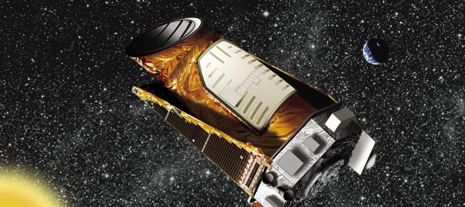 This artist's concept shows the Kepler spacecraft.