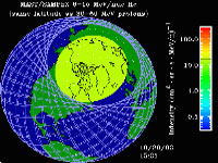 SAMPEX provides view of the intensity and the extent of the solar energetic particles in Earth's upper atmosphere