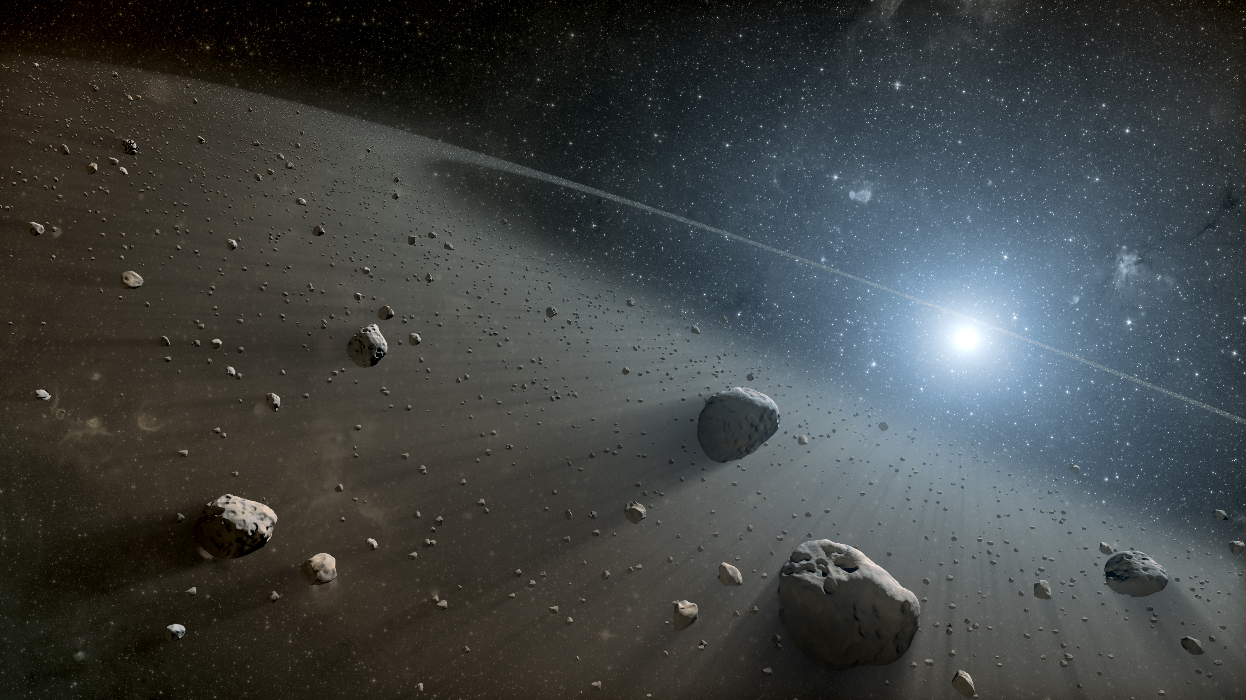 the asteroids in space - HD 2560×1440