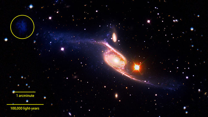 composite of the giant barred spiral galaxy NGC 6872