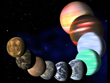 An illustration of a number of the different kinds of planets found by Kepler all lined up in a row.