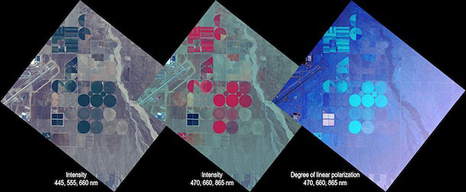 This set of images was collected by the Airborne Multiangle SpectroPolarimetric Imager (AirMSPI) during its maiden flight on Oct. 7, 2010, on NASA's ER-2 over a portion of Air Force Plant 42 airfield and agricultural fields to the east in Palmdale, Calif.