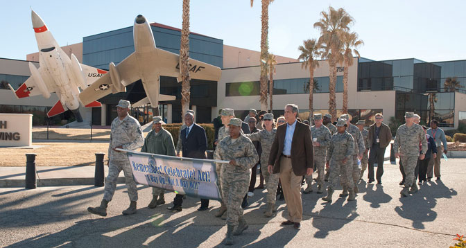 Members of the Edwards Air Force Base and NASA Dryden communities begin the march in honor of Martin Luther King Jr. in front of the 412th Test Wing headquarters. Center director David McBride represented NASA Dryden at the event.