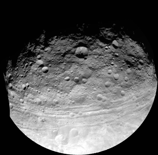 This full view of the giant asteroid Vesta was taken by NASA's Dawn spacecraft, as part of a rotation characterization sequence on July 24, 2011, at a distance of 3,200 miles (5,200 kilometers).
