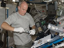Astronaut Jeffrey Williams, Expedition 22 commander, working on the payload Advanced Plant Experiments on Orbit-Cambium - Transgenic Arabidopsis Gene Expression System (APEX-TAGES) in the pressurized Japanese Experiment Module aboard space station. (NASA)
