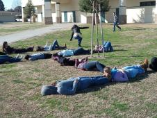 Peggy Foletta's class from Kingsburg High School in Kingsburg, Calif., spelled out