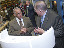 Administrator Charles Bolden with Frank Ledbetter, chief of nonmetallic materials and manufacturing division at NASA's Marshall Space Flight Center in Huntsville, Alabama. Credit: NASA