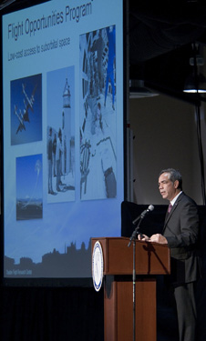 McBride drew attention to NASA's Dryden-managed Flight Opportunities Program, which provides low-cost access to suborbital space for testing emerging space technologies