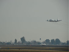 The NASA P-3B made low approaches at local airports, getting as low as 100 feet to make key air quality measurements. Shown here is the Bakersfield regional airport.