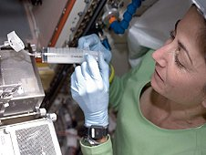 NASA astronaut Nicole Stott working on the Cell Biology Experiment Facility (CBEF) SPACE SEED experiment in the Kibo JEM Pressurized Module (JPM) during Expedition 21. The Wet Lab Kit will make it easier for sample collection like this aboard the International Space Station. (NASA)