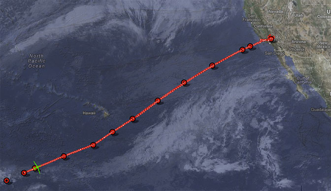 This composite image shows the flight track of NASA's Global Hawk heading back to California during the fifth flight over the Pacific Ocean in the ATTREX mission.
