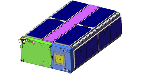 A computer design drawing of ECamSat shows the body of the 14.4 inches long, 8.9 inches wide and 3.9 inches tall satellite. Image credit: NASA Ames