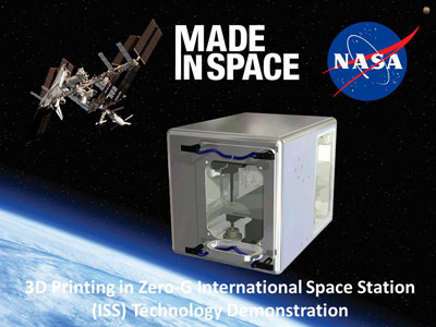 The 3-D Printer, center, will fabricate components and equipment on demand for manned missions to the space station and other destinations in the solar system as a part of the 3-D Printing in Zero-G Experiment conducted by NASA's Marshall Space Flight Center and its partner Made in Space Inc.
