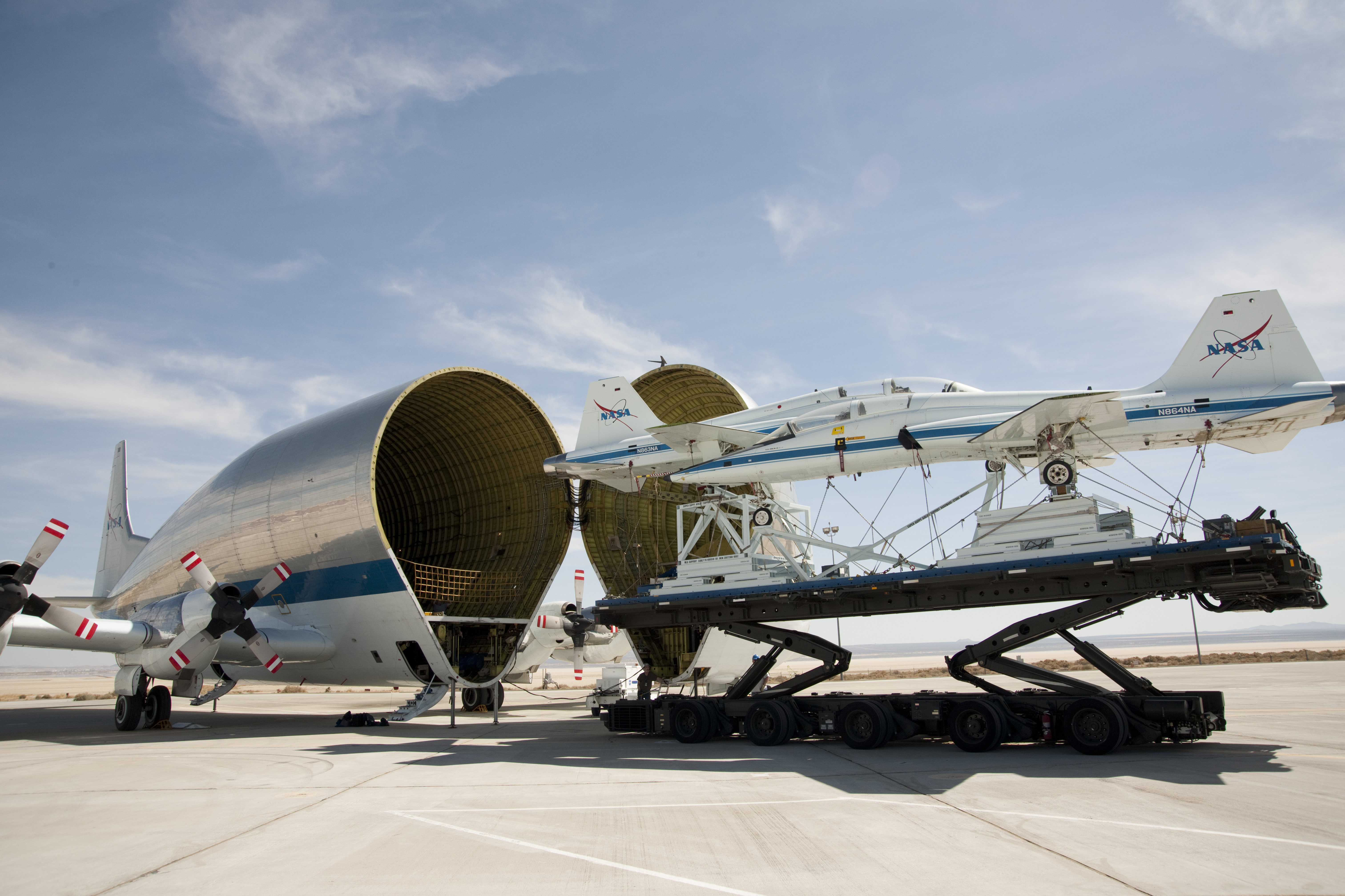 super guppy swallows t38s heads for el paso nasa