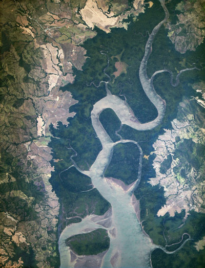 This 'first light' image from ISERV shows the mouth of the Rio San Pablo in Veraguas, Panama, as it empties into the Gulf of Montijo. This wetland supports an important local fishery and provides habitat for many mammals and reptiles, as well as several species of nesting and wintering water birds.