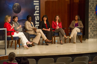 Marshall Deputy Director Teresa Vanhooser leads the Women's History Month program's panel discussion, themed 'Women Inspiring Innovation through Imagination: Celebrating Women in Science, Technology, Engineering and Mathematics.'