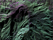 This false-color image of Colombia's highly active Galeras Volcano, acquired by UAVSAR on March 13, details a breached caldera and an active cone that produces numerous small to moderate explosive eruptions.