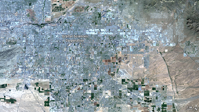 satellite view of Gilbert, Arizona - true color