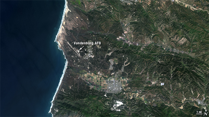 satellite view of Vandenburg, California - true color