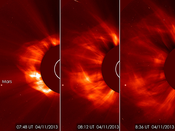 SOHO LASCO C3 instrument captured this image of a coronal mass ejection (CME) on the morning of April 11, 2013.