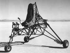 The internal steel structure for the M2-F1 was built at the Flight Research Center. With the external wooden shell built by sailplane builder Gus Briegleb then attached to the framework. Visible in this 1963 photo are the stick, rudder pedals, and ejection seat.