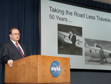 Former NASA Dryden engineer and center director Ken Szalai recalled the legacy of the M2-F1 lifting body championed by the late Dale Reed and flown by the late Milt Thompson in his Taking the Road Less Traveled historical colloquium on the 50th anniversary of the M2-F1's first flight April 5th.