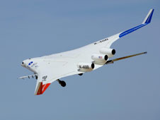 The planform of the original X-48B configuration (above) and the modified X-48C version (at top of page) is evident in these views of the NASA-Boeing Hybrid / Blended Wing Body sub-scale technology demonstrator.
