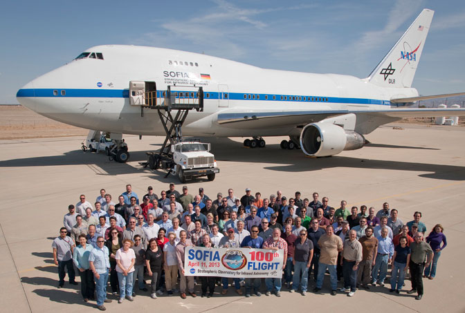 The staff of NASA's Stratospheric Observatory for Infrared Astronomy (SOFIA) gathered on the ramp outside the Dryden Aircraft Operations Facility in Palmdale, Calif., to mark a milestone-the flying observatory's 100th flight.