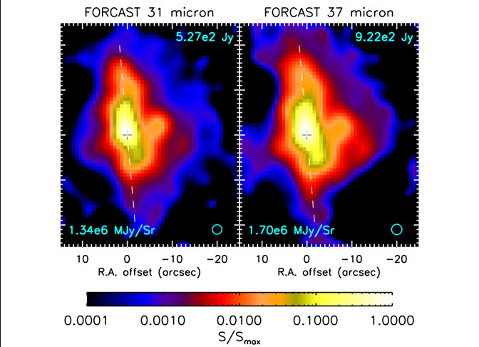 Figures 1a and 1b show the G35 protostar at wavelengths of 31 and 37 microns taken by the FORCAST instrument on the SOFIA observatory's infrared telescope in 2011.