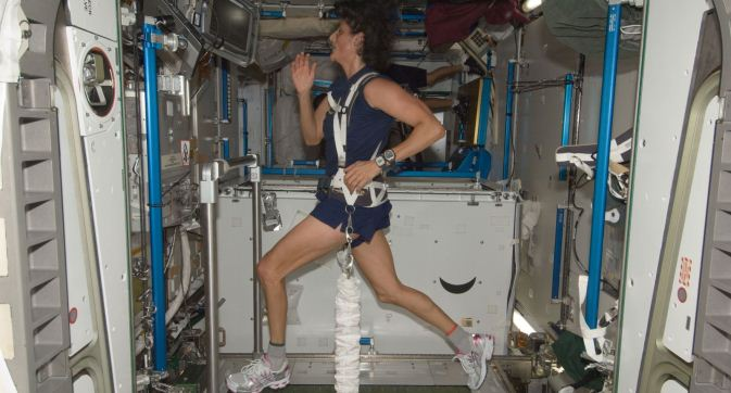 Astronaut Sunita Williams running on ISS