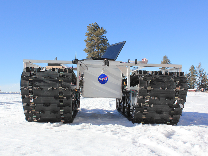 A prototype of GROVER, minus its solar panels, was tested in January 2012 at a ski resort in Idaho.