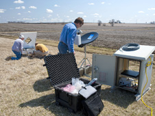NASA and Iowa Flood Center staff install instrumentation in eastern Iowa for the IFloodS campaign.