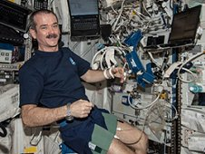 In support of the Blood Pressure Regulation (BP Reg) investigation, Expedition 35 Commander Chris Hadfield completes the setup of the Human Research Facility Pulmonary Function System and the European Physiology Module Cardiolab Leg/Arm Cuff System, and conducts the first-ever session of this study. (NASA)
