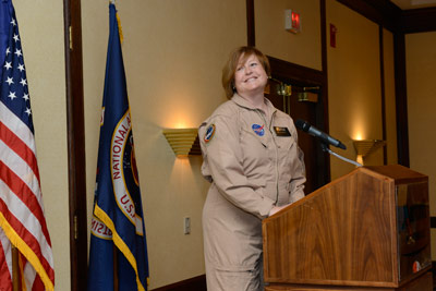 Jeri Buchholz, assistant administrator for the Office of Human Capital at NASA Headquarters, gives remarks at the closing ceremony of the NASA Great Moonbuggy Race.