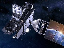 Artist's concept of the GOES R satellite in geostationary orbit around the Earth.