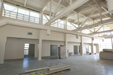Light beige color and extensive window areas provide a light and airy interior in both office and maintenance work area in the new Facilities Support Center.