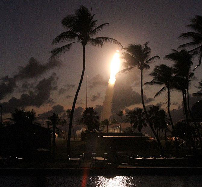 A NASA Terrier Improved Orion leaves the launch pad on roi Namur, Republic of the Marshall Islands on May 9.