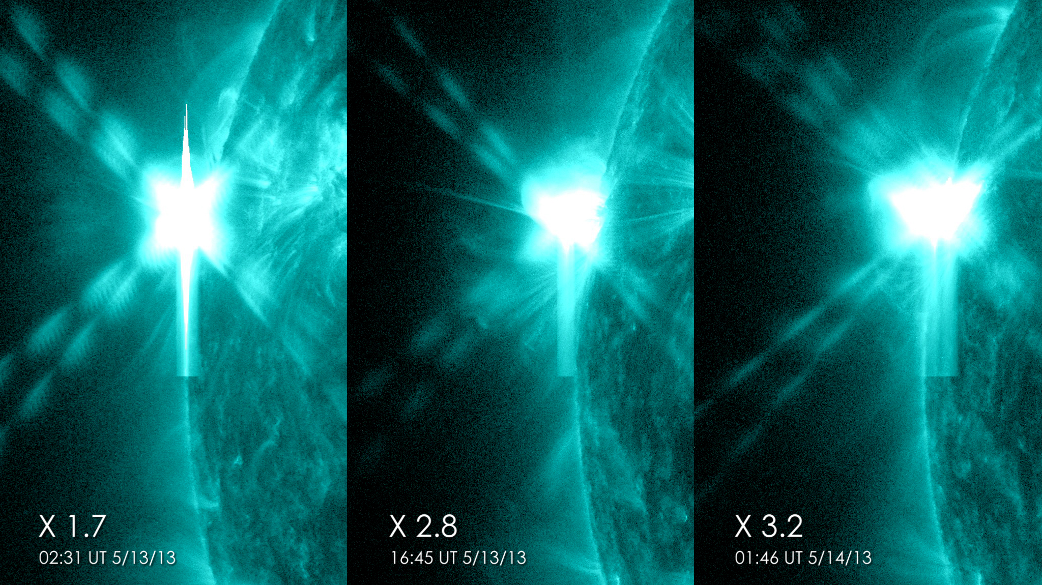 three side by side SDO images showing May 12 13 solar flares
