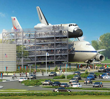 This artist's concept depicts the space shuttle mockup and Shuttle Carrier Aircraft exhibit, along with the adjoining six-story access ramp and exhibit complex to be built at the Space Center Houston visitor center.